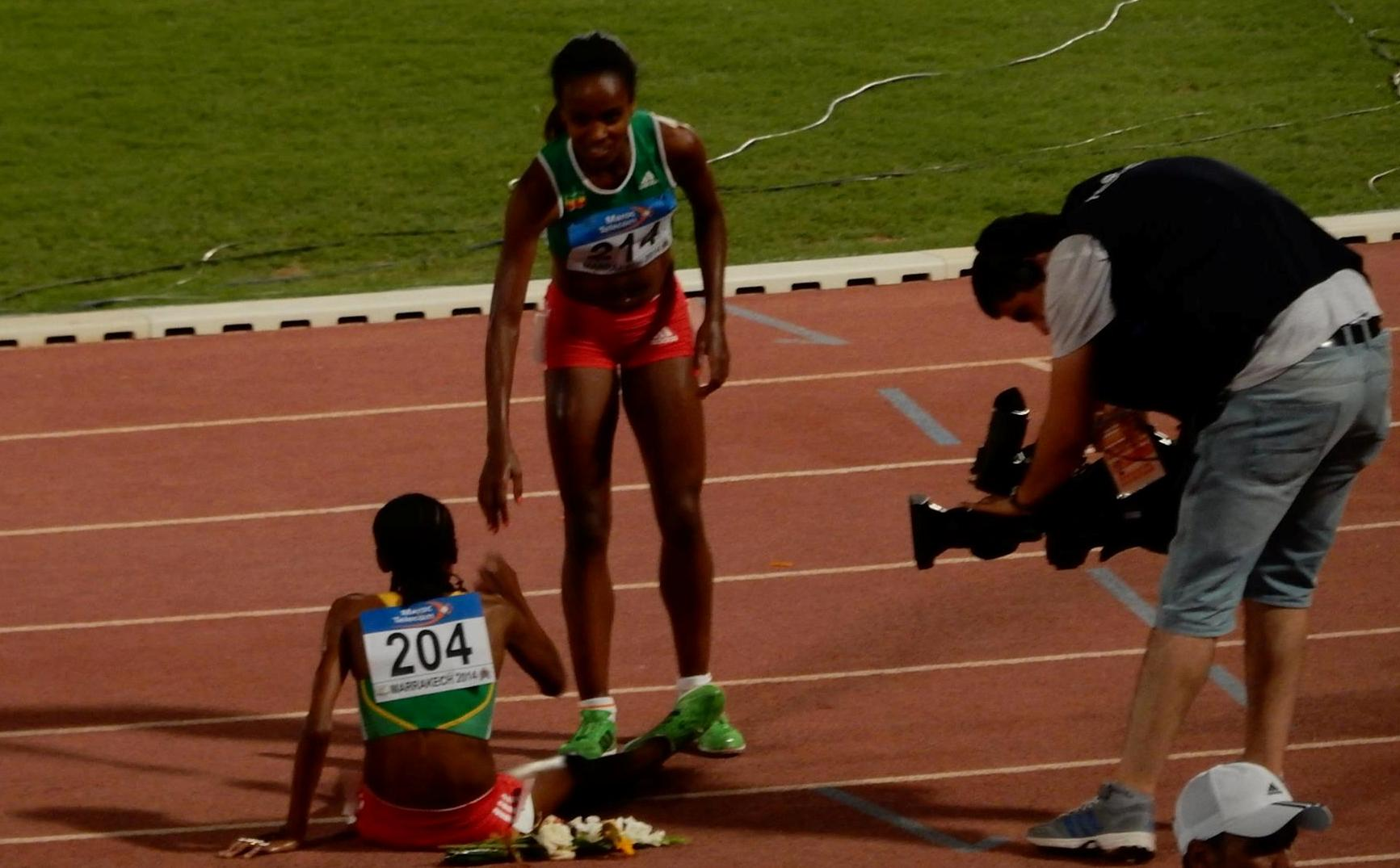 Almaz & Genzebe after their victory in Morocco