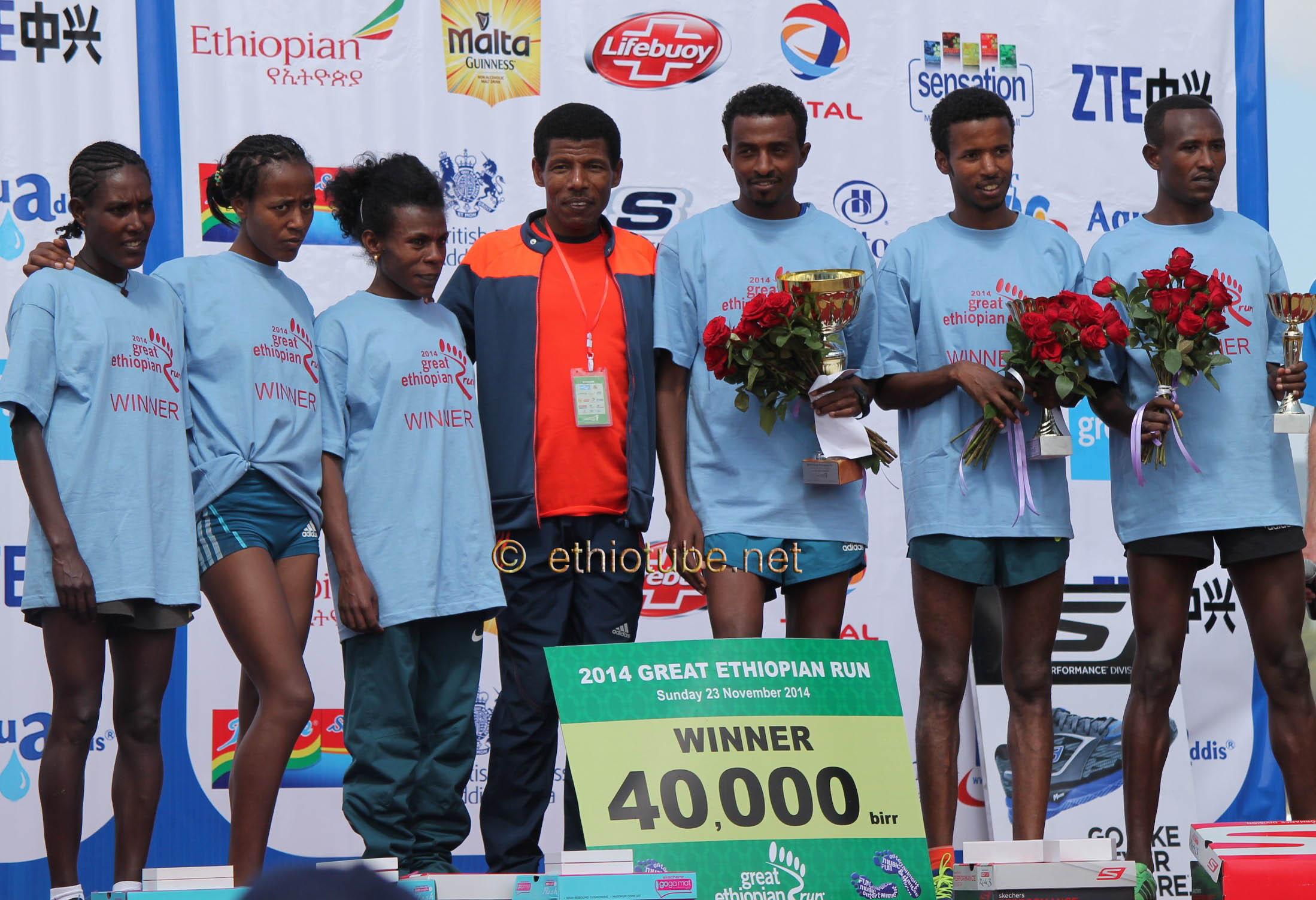 Winners of the 2014 GER 10k with Haile