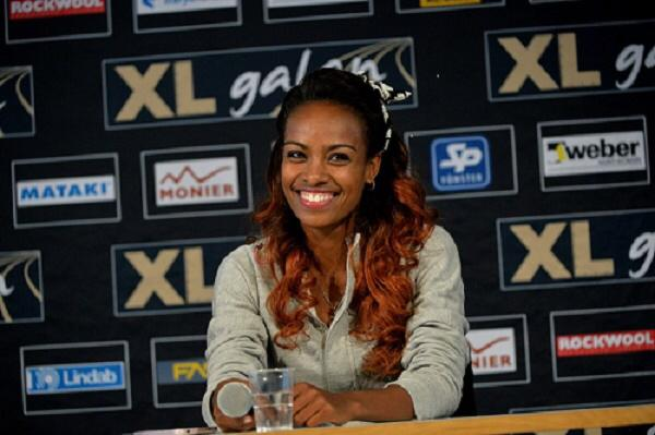 Genzebe Dibaba after her record breaking performance at the XLgalan