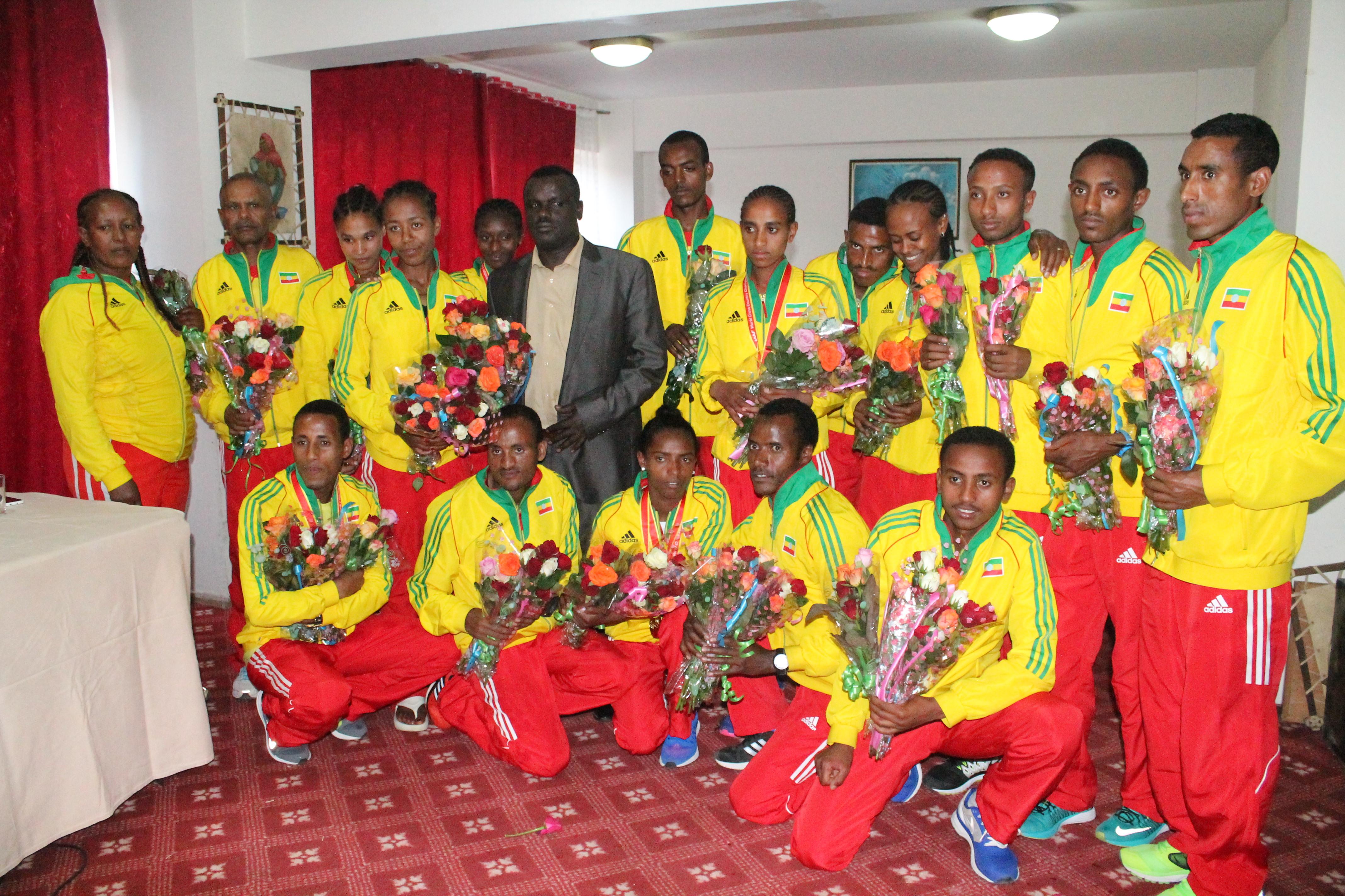 Ethiopian athletics team post Guiyang reception at National Hotel