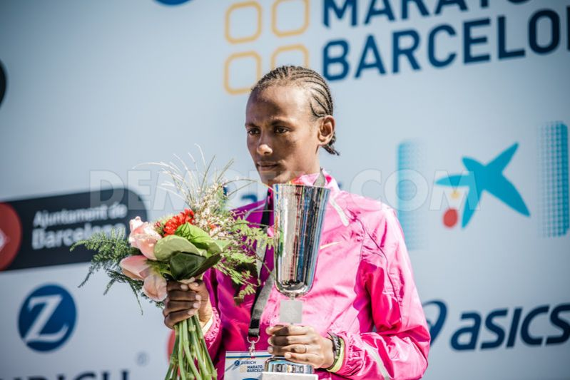 Ethiopia's Aynalem Kassahun pictured after winning the women's race during the 37th edition of the Zurich Marathon Barcelona.