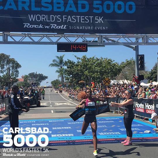 Genzebe Wining her debut 5k road race in Carlsbad