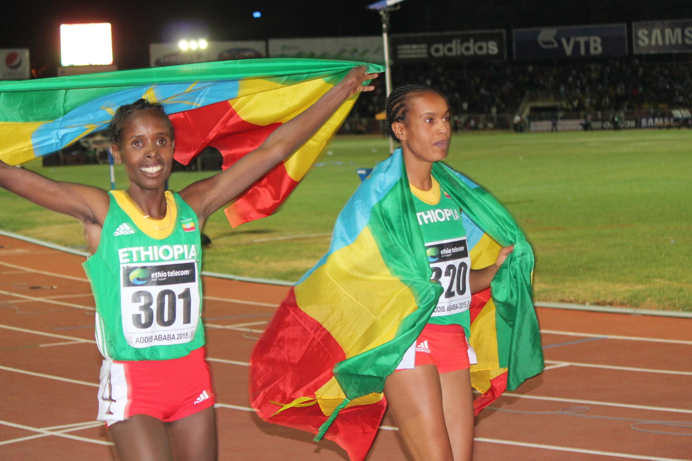 Women 3000m winners Medina and Shuru