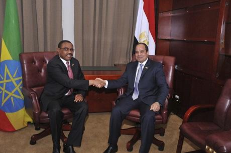 Egypt President Abdel Fattah al-Sisi talks to Ethiopia's Prime Minister Hailemariam Desalegn