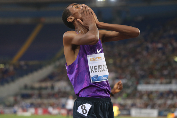Yomif Kejelcha after winning the 5000m at the IAAF Diamond League meeting in Rome (Gladys von der Laage) © Copyright
