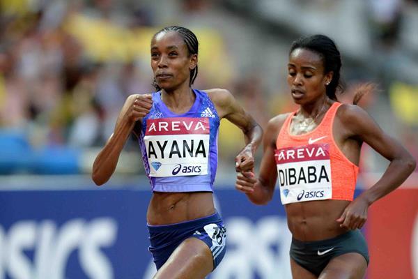 Almaz Ayana and Genzebe Dibaba in the women's 5000m at the 2015 IAAF Diamond League meeting in Paris (Jiro Mochizuki) © Copyright