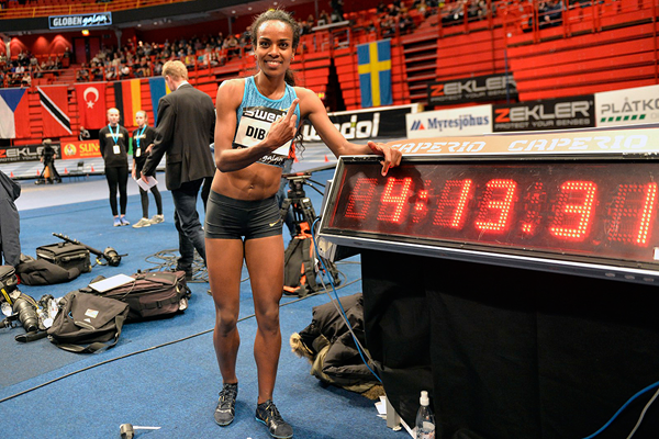 Genzebe Dibaba after breaking the world indoor mile record at the Globen Galan in Stockholm (Hasse Sjogren) © Copyright