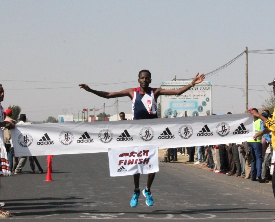 Guye Adola wining 9th EAF Half Marathon Race
